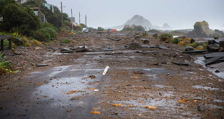 Storm debris on coastal road.